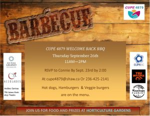 CUPE Local 4879 WELCOME BACK BBQ @ Horticulture Gardens